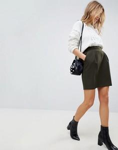 Мини юбка-трапеция с присборенным поясом ASOS Tailored - Зеленый