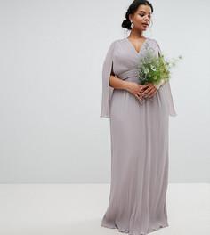 Платье макси с запахом и кейпом TFNC Plus Bridesmaid - Серый