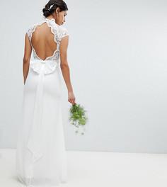 Платье макси с кружевным топом и фактурной отделкой TFNC Bridal - Белый