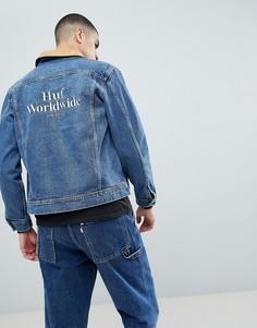 Джинсовая куртка с вышивкой на спине HUF Brooklyn - Синий