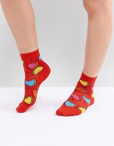 Носки с сердечками ASOS DESIGN - Красный
