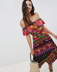 Сарафан миди с открытыми плечами и цветочным принтом ASOS DESIGN - Мульти