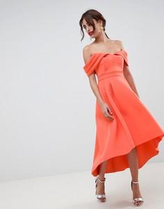 Платье миди для выпускного с открытыми плечами ASOS DESIGN - Розовый