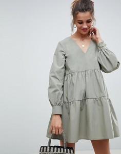 Свободное ярусное платье мини из хлопка ASOS DESIGN - Зеленый