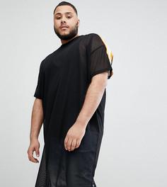 Длинная сетчатая oversize-футболка с отделкой кантом на рукавах ASOS - Черный