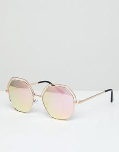Большие солнцезащитные очки с зеркальными стеклами AJ Morgan - Золотой