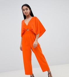 Комбинезон с рукавами-кимоно и широкими брюками со складками ASOS DESIGN Petite - Красный