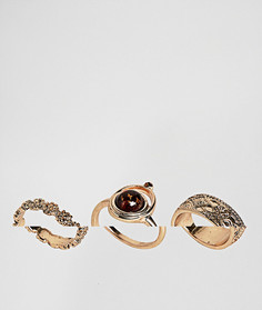 3 кольца с искусственным топазом и гравировкой ASOS - Золотой