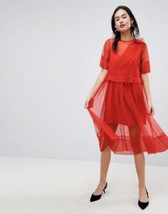 Платье миди из тюля со сборками ASOS - Мульти