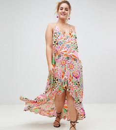 Асимметричное пляжное платье макси с принтом в стиле ретро ASOS CURVE - Мульти