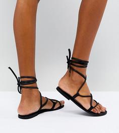 Кожаные сандалии с высокой завязкой ASOS FLOW - Черный