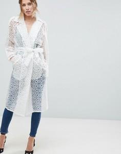 Пальто с поясом ASOS - Белый