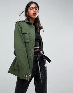 Куртка цвета хаки с запахом и поясом ASOS DESIGN - Мульти