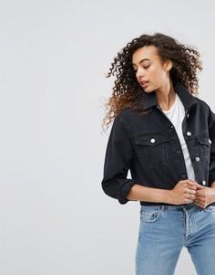Черная выбеленная джинсовая куртка ASOS DESIGN - Черный
