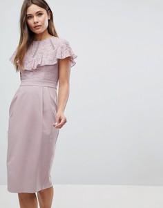 Платье-футляр миди с кружевной отделкой ASOS - Бежевый