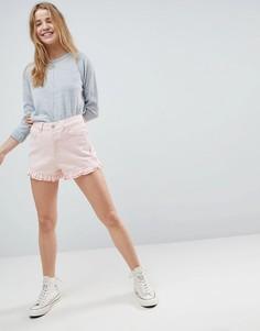 Розовые выбеленные джинсовые шорты с оборками ASOS DESIGN - Розовый