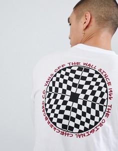 Белый лонгслив с шахматным узором Vans VA3H77WHT - Белый