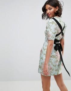 Платье из жаккарда с цветочным принтом и завязкой на спине ASOS Premium - Мульти
