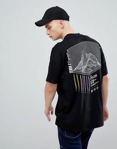 Oversize-футболка из плотного трикотажа с принтом на спине ASOS DESIGN - Черный
