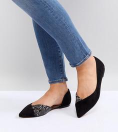 Балетки с заостренным носком для широкой стопы ASOS VIXEN - Черный