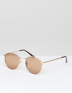 Круглые солнцезащитные очки в золотистой оправе в стиле 90-х ASOS - Золотой