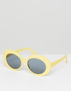 Солнцезащитные очки в желтой овальной оправе ASOS - Желтый