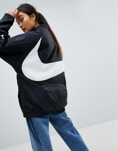 Черная оversize-куртка с короткой молнией и крупным логотипом-галочкой Nike Vapourwave - Черный