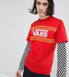 Красная двухслойная футболка с шахматным принтом на рукавах Vans эксклюзивно для ASOS - Красный