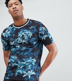 Свободная футболка с цветочным принтом и отделкой в рубчик ASOS DESIGN Tall - Черный