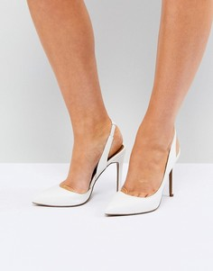 Туфли на каблуке с острым носком и ремешком на пятке ASOS PREFECT - Белый