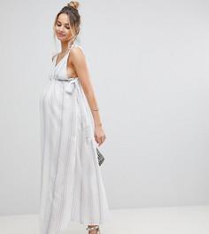 Пляжное платье макси в полоску ASOS Maternity - Мульти