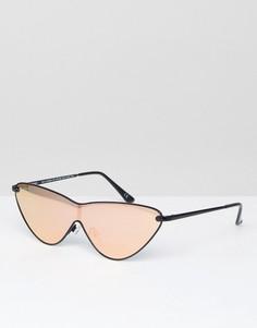 Солнцезащитные очки кошачий глаз в металлической оправе с золотисто-розовыми стеклами ASOS - Золотой