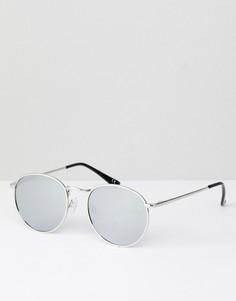 Круглые солнцезащитные очки в стиле 90-х ASOS - Серебряный