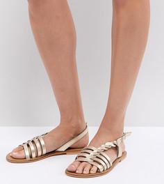 Кожаные сандалии с Т-образными ремешками ASOS FLATTERED - Золотой