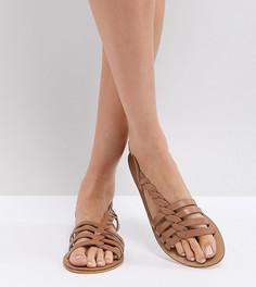 Кожаные сандалии с Т-образными ремешками ASOS FLATTERED - Рыжий