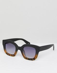 Черные солнцезащитные очки кошачий глаз в массивной оправе с черепаховой отделкой ASOS - Черный