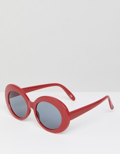Солнцезащитные очки в красной овальной оправе ASOS - Красный