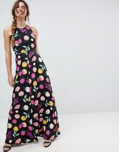 Платье макси халтер с открытой спиной и принтом ASOS - Мульти