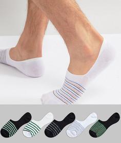 5 пар низких носков с полосками в стиле ретро ASOS - Мульти