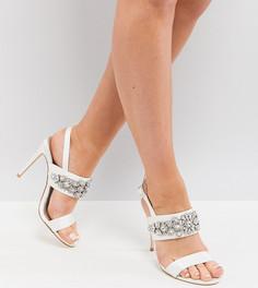 Декорированные босоножки на каблуке для широкой стопы ASOS DESIGN - Кремовый