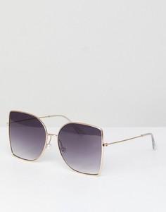Большие квадратные солнцезащитные очки с жемчужной отделкой ASOS - Золотой