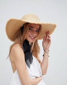 Соломенная шляпа с широкими полями ASOS - Бежевый