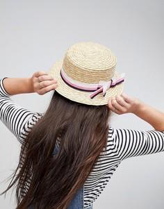 Соломенная шляпа с бантом в полоску ASOS - Бежевый