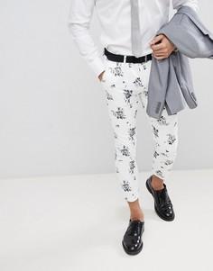 Белые супероблегающие укороченные брюки с цветочным принтом ASOS DESIGN Wedding - Белый