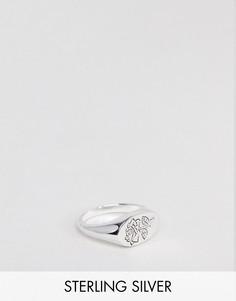 Серебряное кольцо-печатка с розой ASOS DESIGN - Серебряный