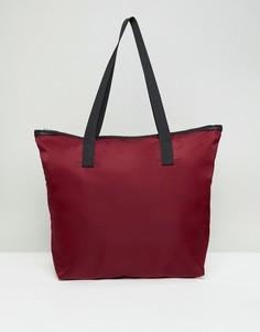 Бордовая сумка-тоут с молнией ASOS DESIGN - Красный