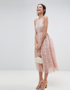 Платье миди для выпускного с фигурным краем и кружевом ASOS - Розовый
