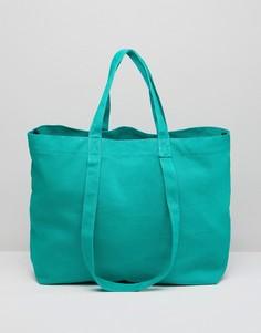 Хлопковая сумка-шоппер с двойными ручками ASOS - Зеленый