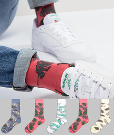 Набор из 5 пар носков с пальмовым принтом ASOS DESIGN - Мульти