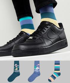 Набор из 5 пар носков с полосками и принтом ASOS DESIGN - Мульти